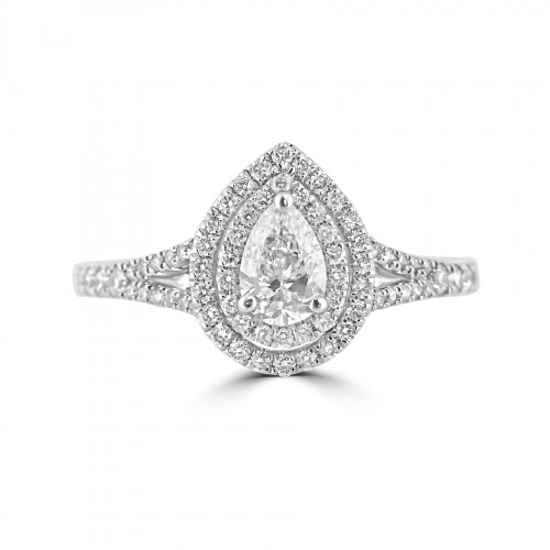 Diamond Double Halo & Shoulder Pear 0.40ct Centre Ring