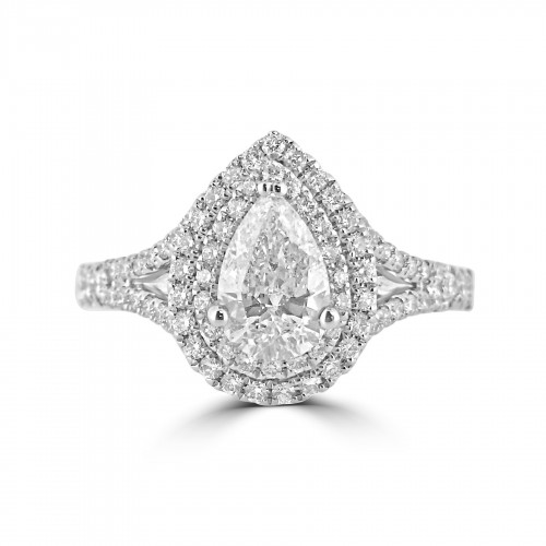 Diamond Double Halo & Shoulder Pear 0.80ct Centre Ring