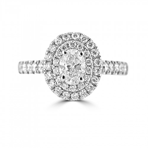 Diamond Double Halo & Shoulder Oval 0.50ct Centre Ring