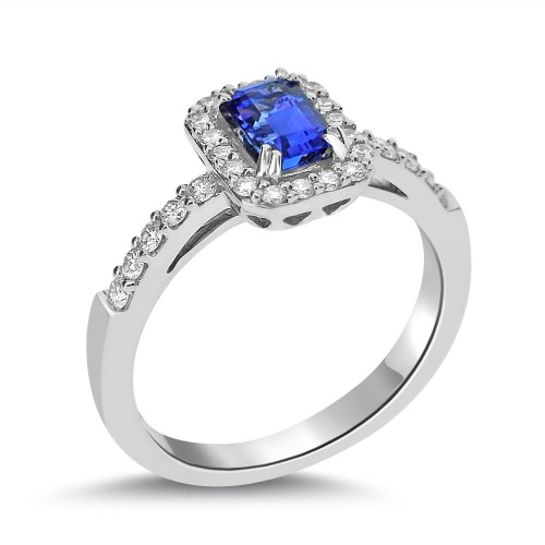 18ct WG Tanzanite Oct with RBC Halo & Shoulders Ring