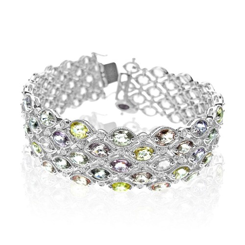 Multi Coloured Pale Sapphire & Diamond Bracelet