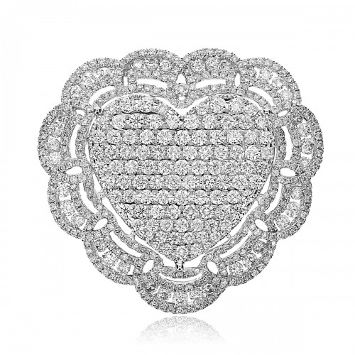 18W 135 X Rbc 4.69ct Pave Heart Shape In Centre With 304 X Rbc 1.59ct Pave Elaborate Scroll Surround Ring