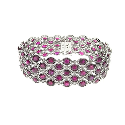 Ruby & Diamond Wide Fancy Bracelet