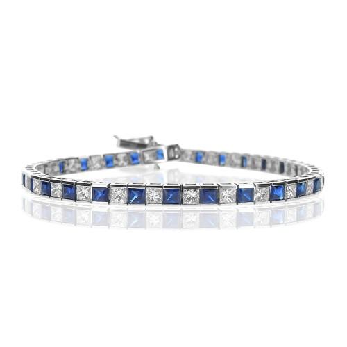 Sapphire & Diamond Channel Set Line Bracelet