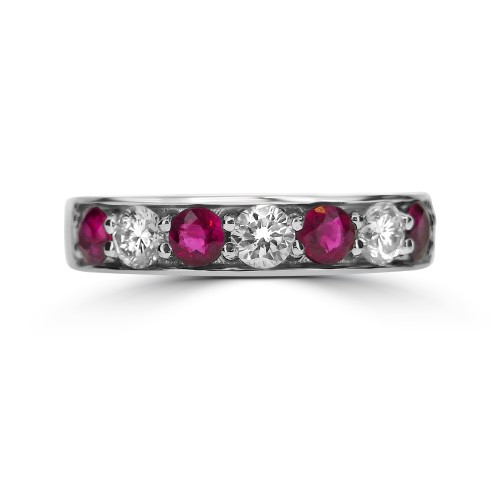 Ruby Round & Diamond RBC Half Eternity Ring