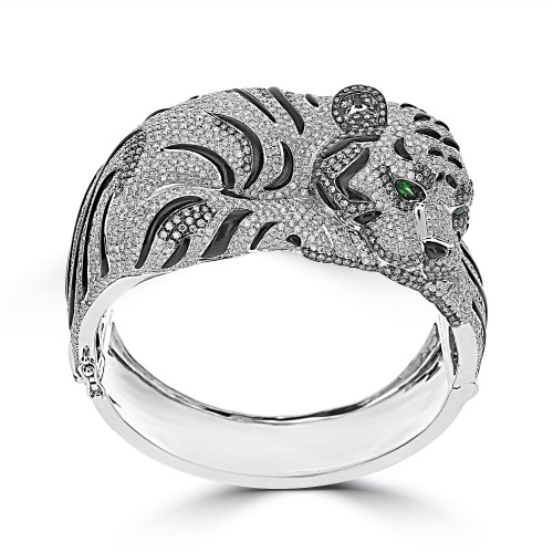 Diamond & Onyx Tiger Fancy Cocktail Bangle