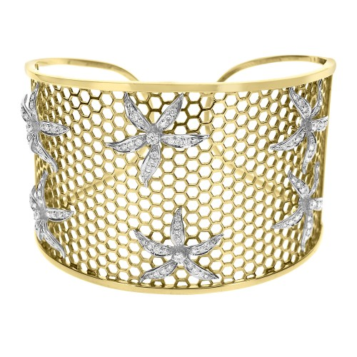 Diamond Flower Wide Cuff Bangle