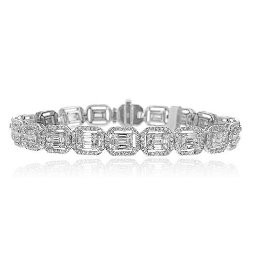 Baguette Diamond 2.97ct w/ RBC Diamond 2.87ct Octavia Halo Bracelet