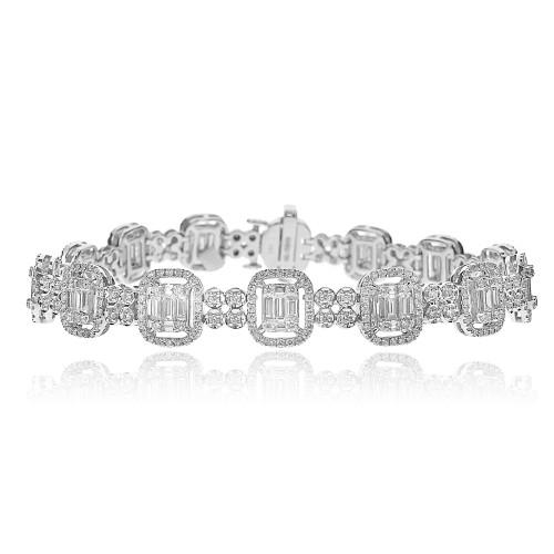 Baguette Diamond 2.27ct w/ RBC Diamond 2.07 Octavia Halo w/ RBC Spacers Fancy Bracelet