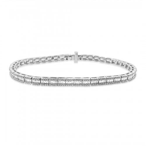 Baguette Diamond 1.74ct w/ RBC Diamond 0.98ct Octavia ET Style Line Bracelet