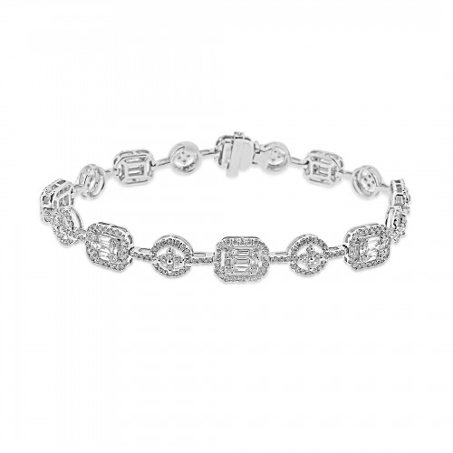 Baguette Diamond 0.98ct w/ RBC Diamond 2.1ct Octavia Halo & Round Quatrefoil Link Bracelet