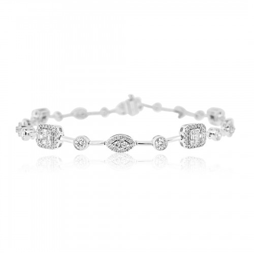 Baguette Diamond 0.47ct w/ RBC Diamond 1.11ct Halo Oct & Marq w/ Bar & Rubover Spacers Halo Bracelet