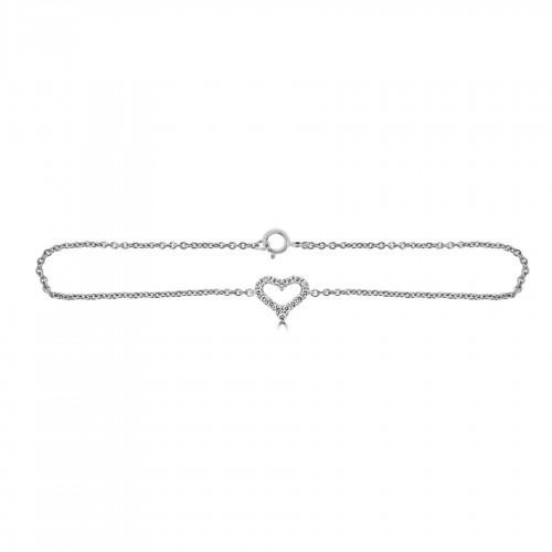 18W Diamond 0.17ct Kiss Chain Bracelet