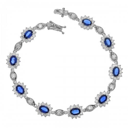 Sapphire & Diamond Cluster Fancy Bracelet