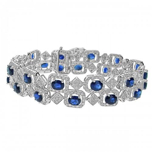 Sapphire & Diamond Fancy 2 Row Bracelet