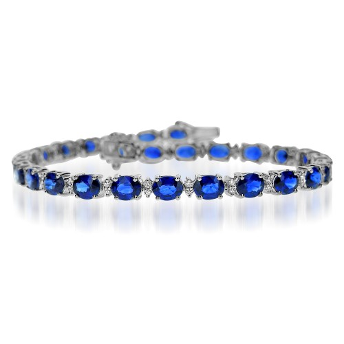 Sapphire Oval & Diamond Line Bracelet