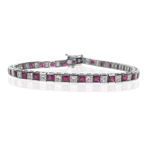 Ruby & Diamond Channel Set Line Bracelet