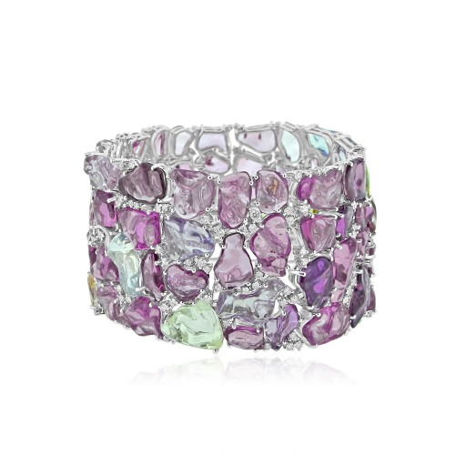 Multi Coloured Sapphire & Diamond Fancy Cuff Bracelet