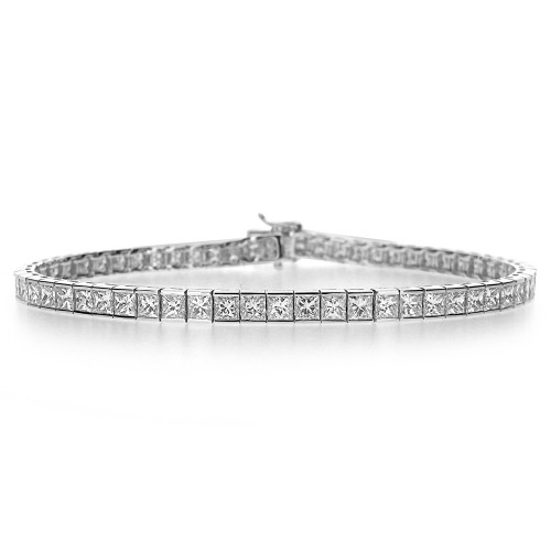 Diamond Princess Cut Line Bracelet