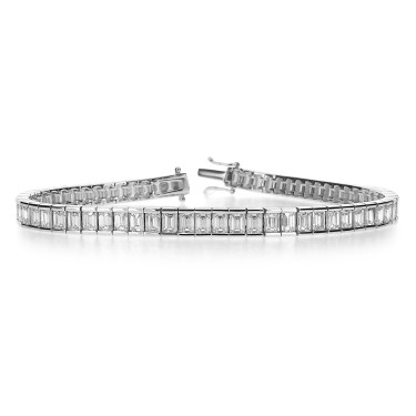 Diamond Emerald Cut Line Bracelet