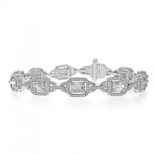 Baguette Diamonds 1.49ct with RBC 1.68ct Halo Looped Link Illusion Bracelet
