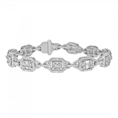 Baguette Diamond 1.61ct w/ RBC Diamond 1.71ct Octavia Halo Looped Link Bracelet