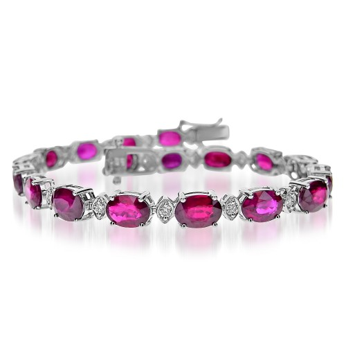Ruby & Diamond Line Bracelet