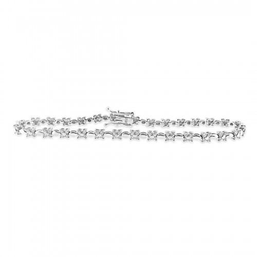 RBC 1.40ct 4st Flowers & Marquise Shape Link Between Bracelet