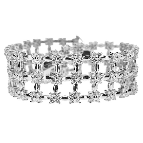 Diamond Fancy Wide 3 Row Bracelet
