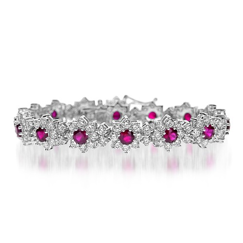 Ruby & Diamond Flower Cluster Line Bracelet