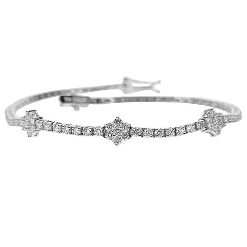 RBC 1.20ct Line With 3 7st Clusters(Spaced) Half Set Bracelet