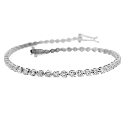 Diamond Round Brilliant Cut 3 Claw Line Bracelet