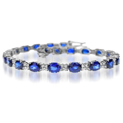 Sapphire Oval & Diamond Cluster Line Bracelet