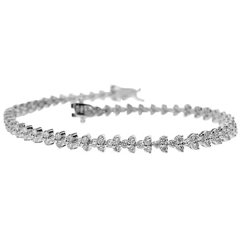 Diamond Trefoil Line Bracelet