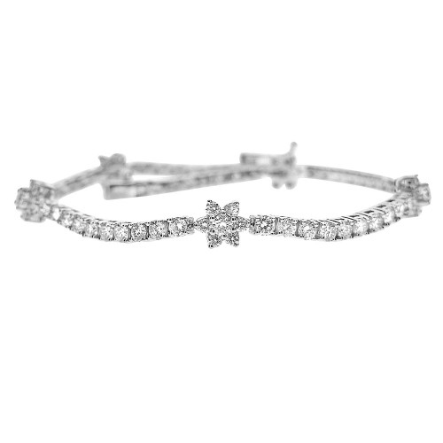 RBC 3.91ct 4 Claw Line With 5x 7 Stone Spaced Flower Clusters Bracelet