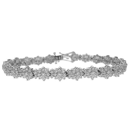 RBC 7.15ct 9 Stone Flower Clusters w/ 2x RBC Between Bracelet