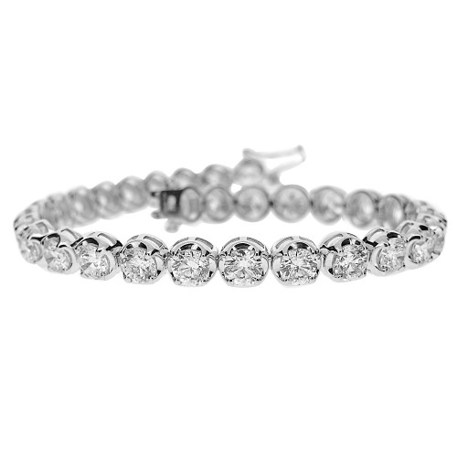 Diamond Round Brilliant Cut Crown Set Line Bracelet