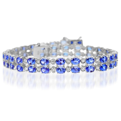 Tanzanite & Diamond 2 Row Bracelet