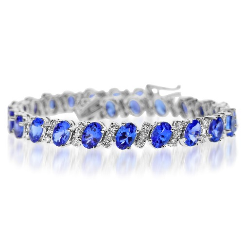 Tanzanite & Diamond Diagonal Bracelet