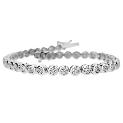 Diamond Round Brilliant Cut Rub Over Set Line Bracelet