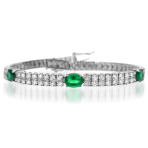 Emerald & Diamond 2 Row Bracelet