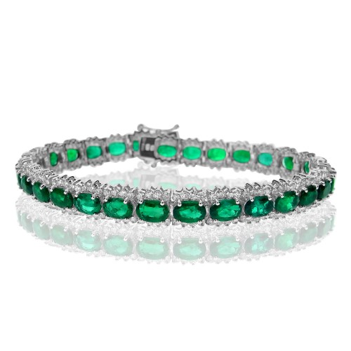 Emerald & Diamond Fancy Cluster Line Bracelet