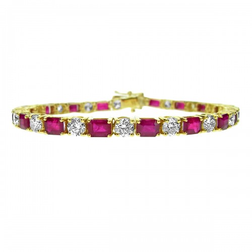 Ruby & Diamond YG Line Bracelet