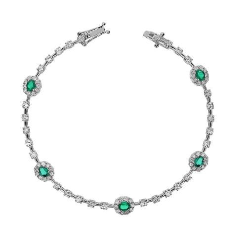Emerald & Diamond Fine Cluster Bracelet
