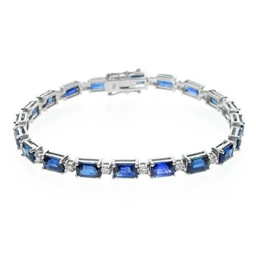 Sapphire Octagon & Diamond Line Bracelet