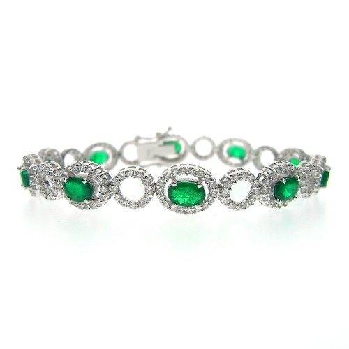 Emerald & Diamond Halo Bracelet