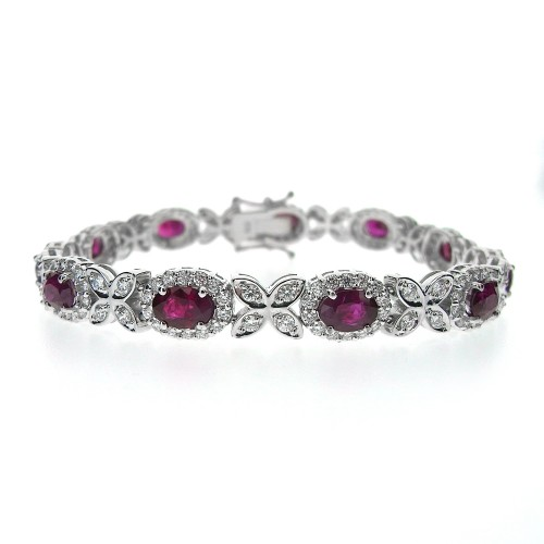 Ruby & Diamond Fancy Cluster Bracelet
