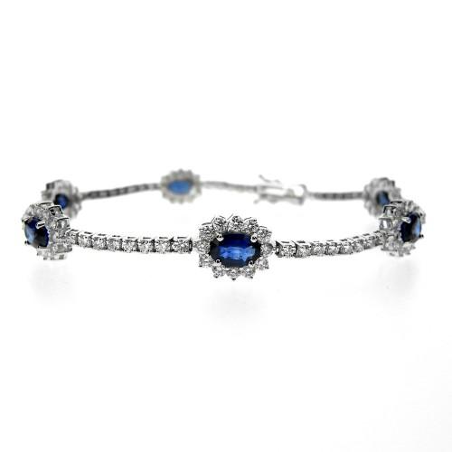 Sapphire & Diamond Cluster Line Bracelet