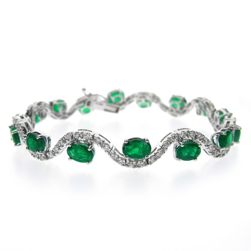 Emerald & Diamond Wave Bracelet