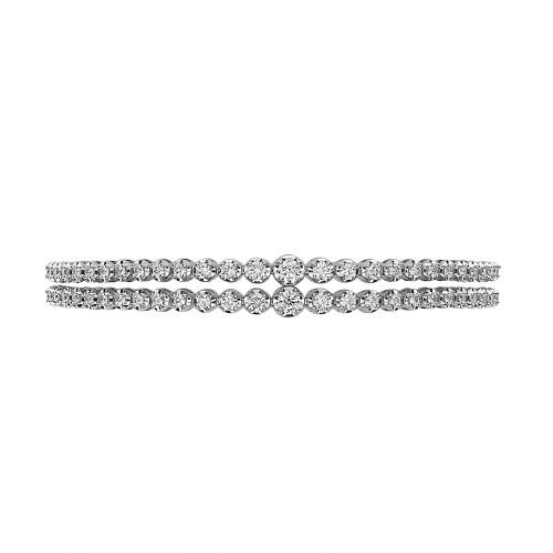 RBC 2.37ct 2 Row Graduated Crown Set Line Bracelet